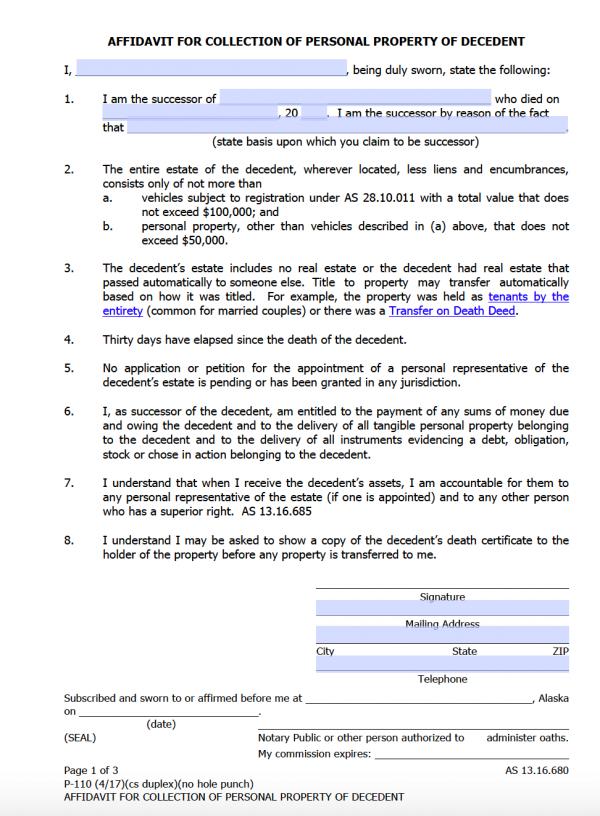 Free Alaska Small Estate Affidavit Form