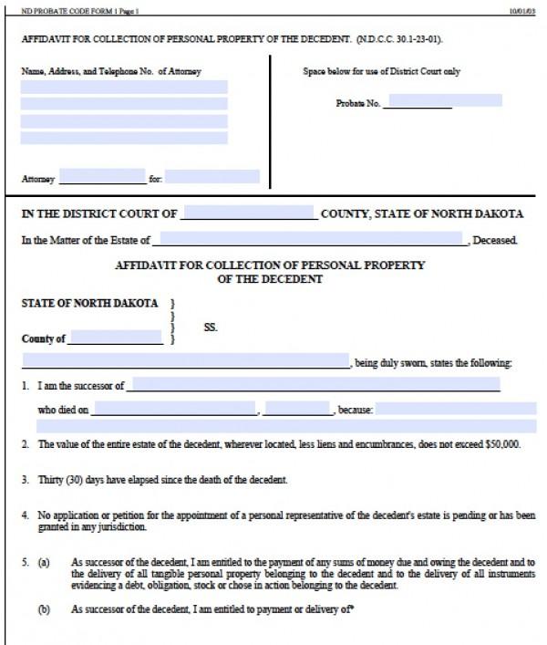 Free North Dakota Small Estate Affidavit Form