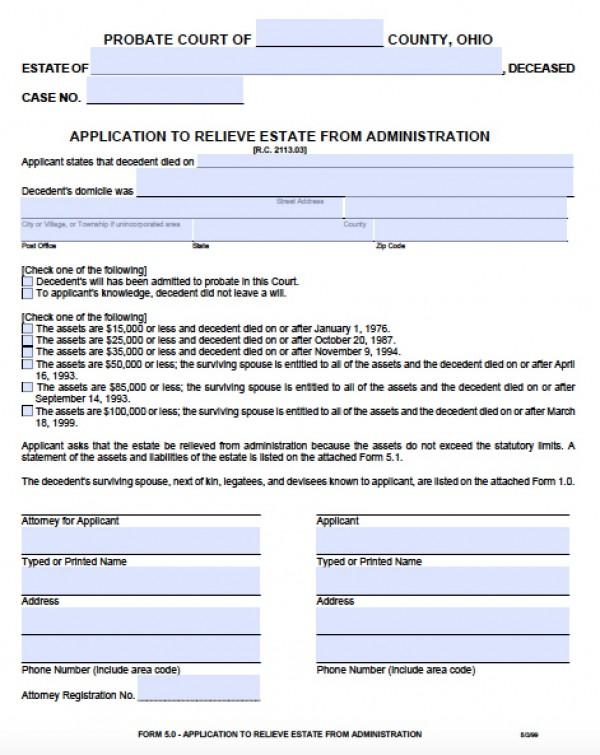 Free Ohio Small Estate Affidavit Form