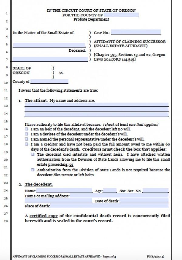 Free Oregon Small Estate Affidavit Form