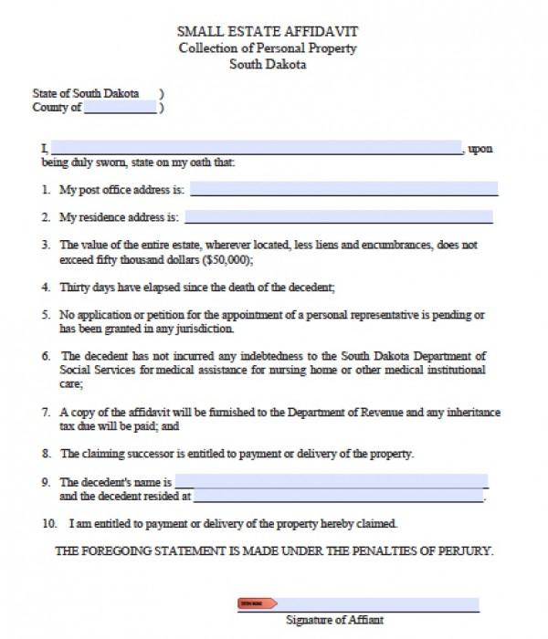 Free South Dakota Small Estate Affidavit Form