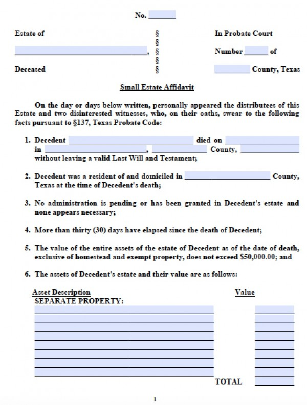 Free Texas Small Estate Affidavit Form - Small Estate