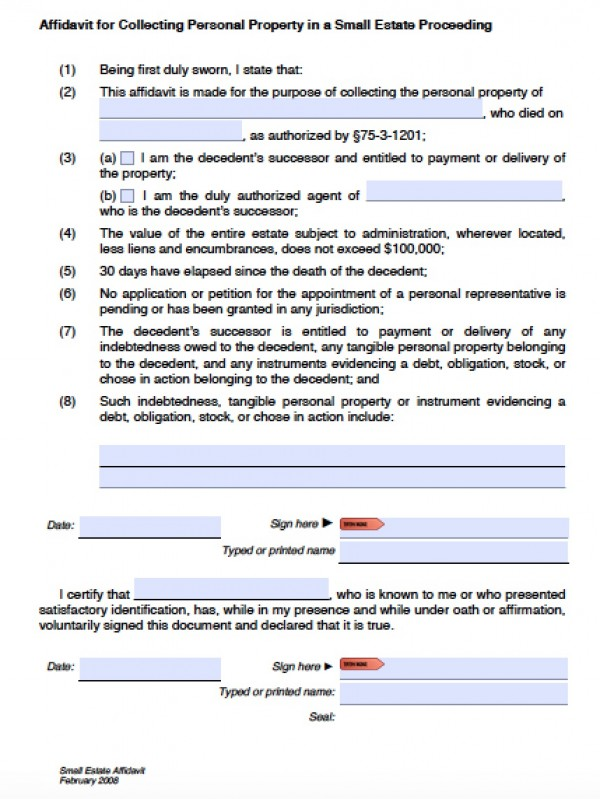 Free Utah Small Estate Affidavit Form