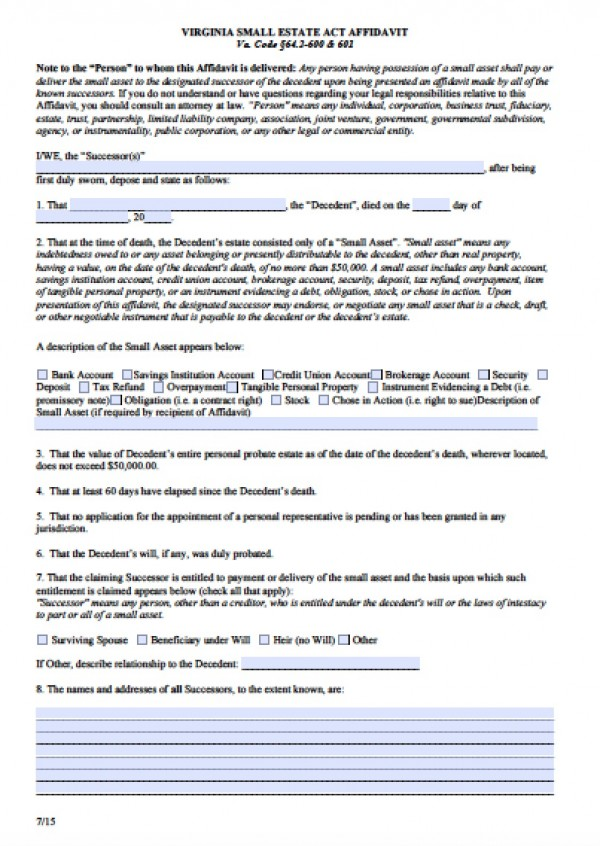 Free Virginia Small Estate Affidavit Form