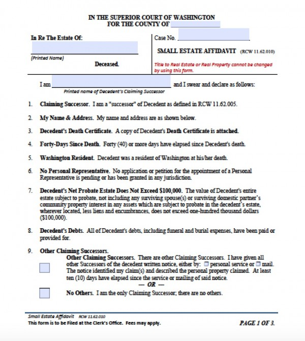 Free Washington Small Estate Affidavit Form